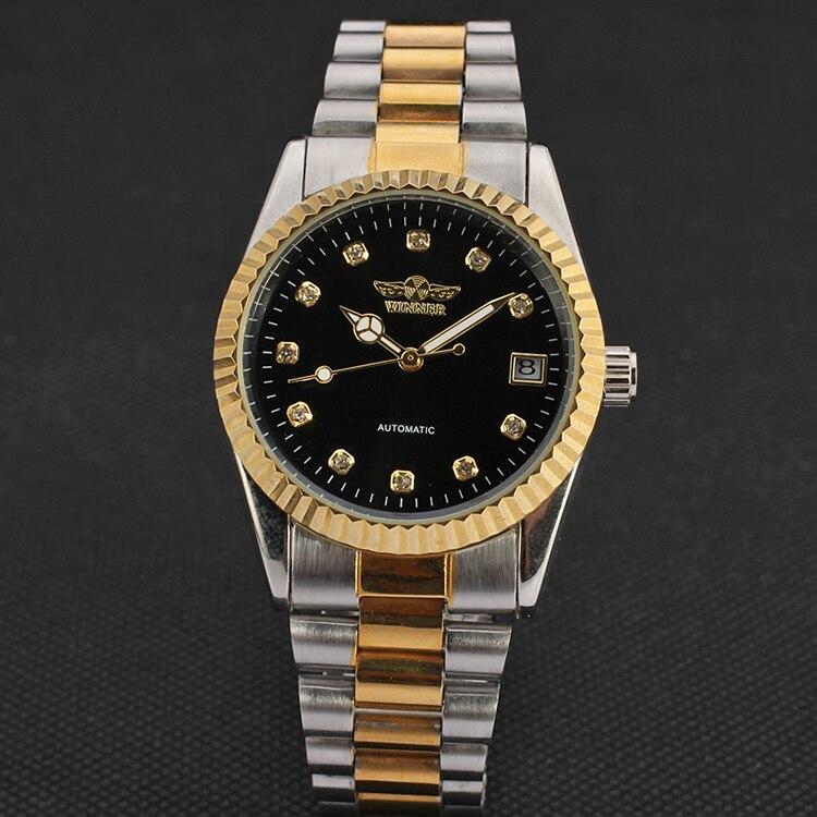 WINNER montres nouveauté automatique mécanique or engrenage gravé lunette classique diamant cadran décontracté femmes métal montre