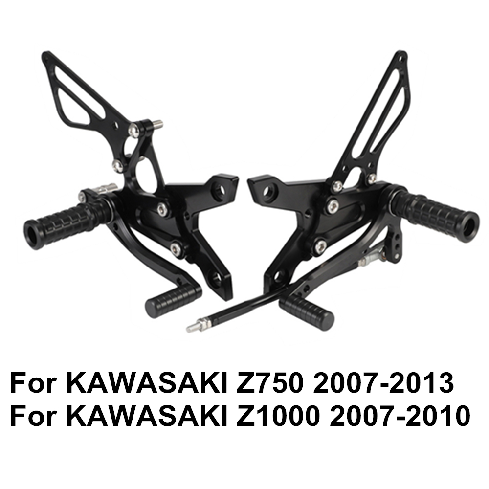Z750 2007-2013 Z1000 2007-2010 Adjustable Aluminum Alloy CNC Motorcycle Rear Set Foot Pegs Footrests For KAWASAKI