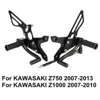Z750 2007 2013 Z1000 2007 2010 Adjustable Aluminum Alloy CNC Motorcycle Rear Set Foot Pegs Footrests For KAWASAKI