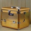 Tamanho grande liga de Alumínio 3 camada Mala Profissional Caso Cosméticos, Jóias Caixa de Armazenamento De Maquiagem saco de Viagem de Presente de Aniversário de Casamento