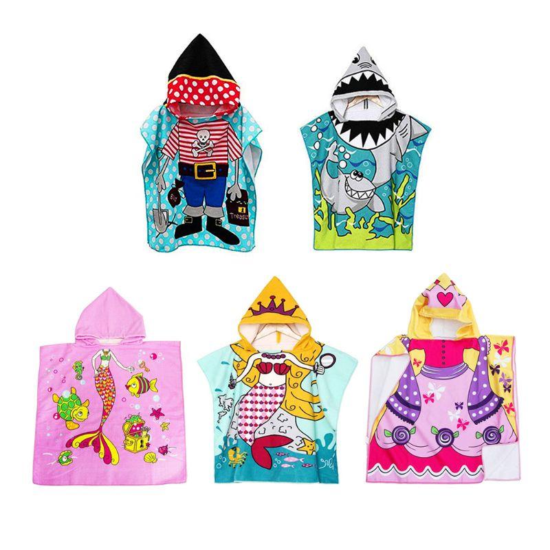 Free Shipping Comfortable Kids Bathrobe Cute Cartoon Patterns Soft Hooded Cloak Bathrobe Blanket Kids Toddler Baby Bath Towel