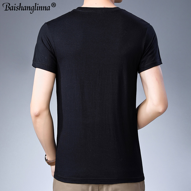 Baishanglinna Spring Summer Short Sleeve Tee Shirt Men Casual O-Neck T-Shirt Men Pure Cotton Top Homme Brand Clothing S - XXXXL 4