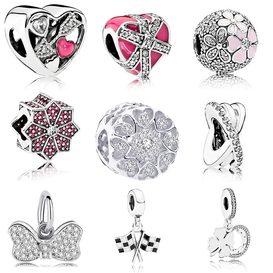 Silver Plated Charm Enamel Forever In My Heart Bow-knot Struck By Love With Crystal Bead Fit Pandora Bracelet Bangle DIY Jewelry