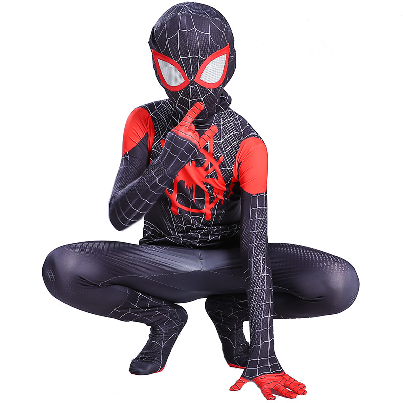 Kids Boys Spider-Man Into the Spider-Verse Miles Morales Cosplay Costume 3D Print Zentai Spiderman Bodysuit Superhero Jumpsuits