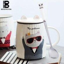 500ml Cute Cat Cartoon Ceramic Porcelain Mug with Lid Coffee Cup Oatmeal Water Milk Tea Coffee