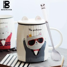 500ml Cute Cat Cartoon Ceramic Porcelain Mug with Lid Coffee Cup | Oatmeal Water Milk Tea Coffee Mug Cup Drinkware with Spoon