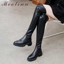 Meotina Autumn Over The Knee Boots Women Natural Genuine Leather Thick Heel Thigh High Slim Stretch Long Shoes Lady 34-39