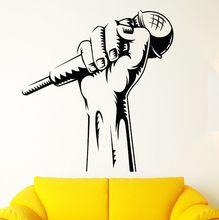 Vinyl Wall Decal Microphone Hand Sticker Karaoke Club Decoration Rap Battle Singer Art Mural Music Wallpaper AY782