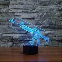 Hot 3D Acrylic Colorful USB Nightlight Creative Children S AK47 Sniper Rifle Christmas Gift LED Table