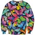 Camiseta 2016 Nuevas Mujeres de la Llegada Sudaderas Con Capucha de La Mariposa Impreso 3D Sudaderas Jerseys Sportswear Chándales