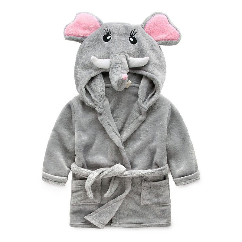 Children Cartoon Robes Animal Boys Girls Flannel Pajamas sleepwear Baby Soft Velvet Bathrobe Romper Kids clothing Toddler Robe