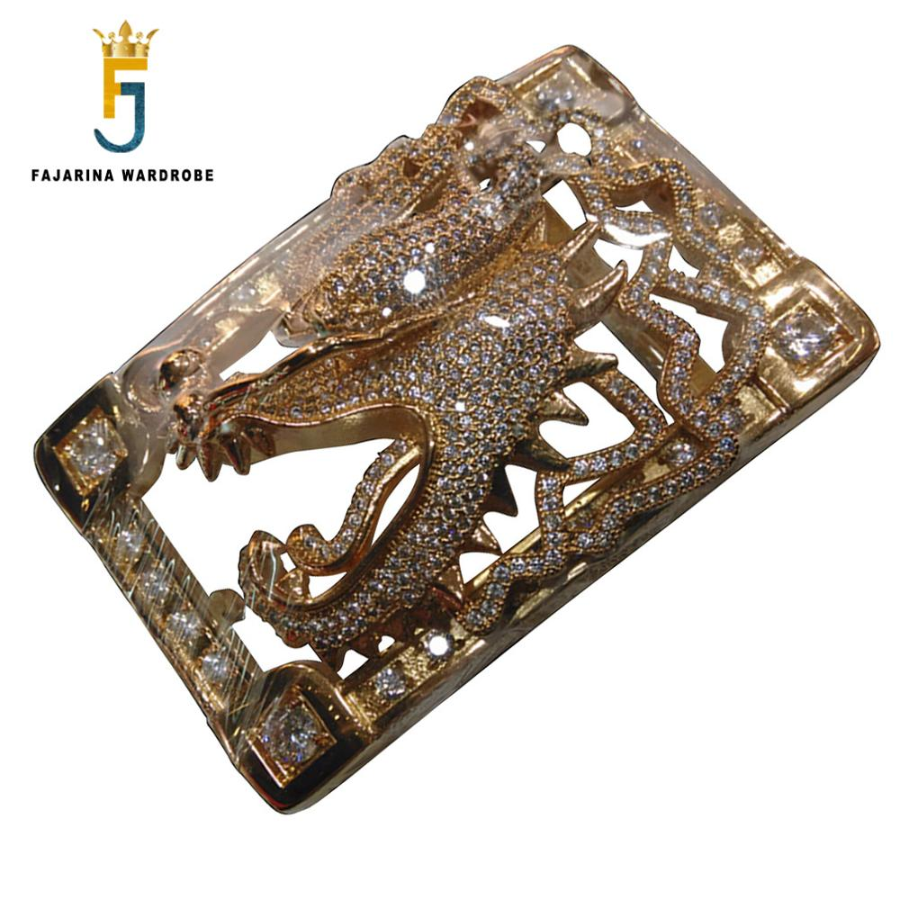 FAJARINA Unique Design Chinese Dragon Head Pattern Buckles Luxury Stainless Steel Crystal Diamond Belts Buckle For Men BCK026