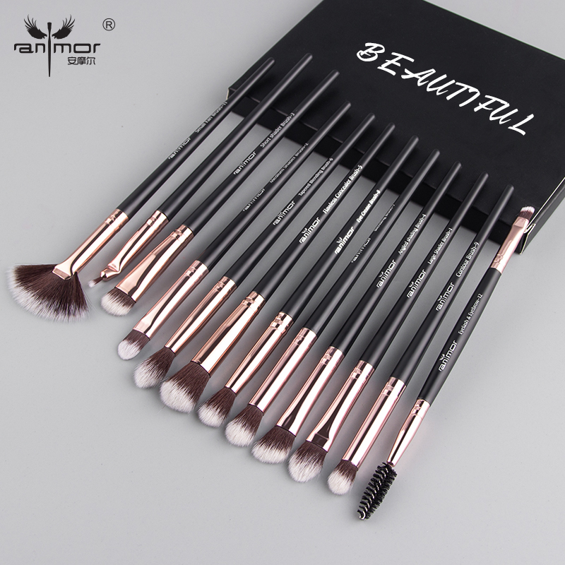 Anmor Makeup Brushes Set 12pcs/lot Eye Shadow Blending Eyeliner Eyelash Eyebrow Brushes For Make up Professional Eyeshadow Brush(China)