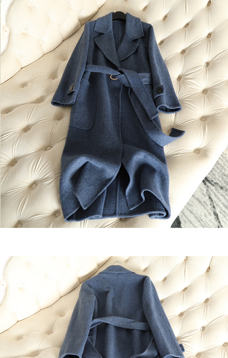 QIAN SI CHEN 19 Autumn New 100% Cashmere Coat Alpaca Warm Winter Coat Women Long Wool Coat Office Lady Slim Female Overcoat 19
