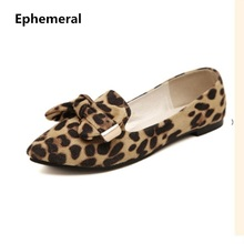 hot deal buy lady plus size us12 bow-knot flats leopard printed nubuckle leather round toe women leisure shoes matching shoes and bags italy