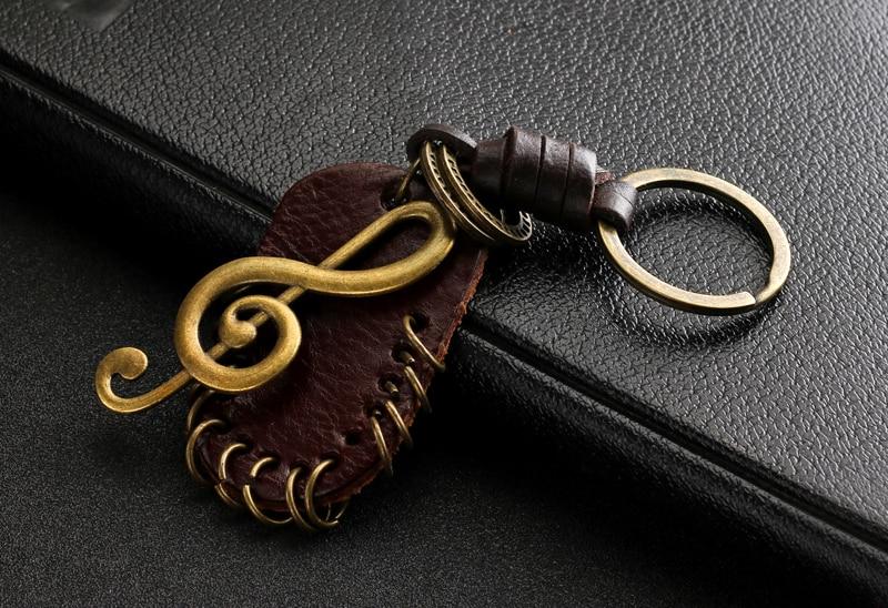 Schlüsselring mit Violinschlüssel Leder 3