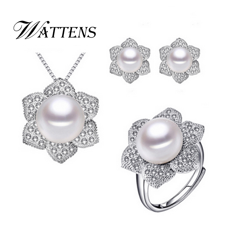 Wattens Natural Pearl Set Pearl Jewelry Sets 925 Sterling Silver