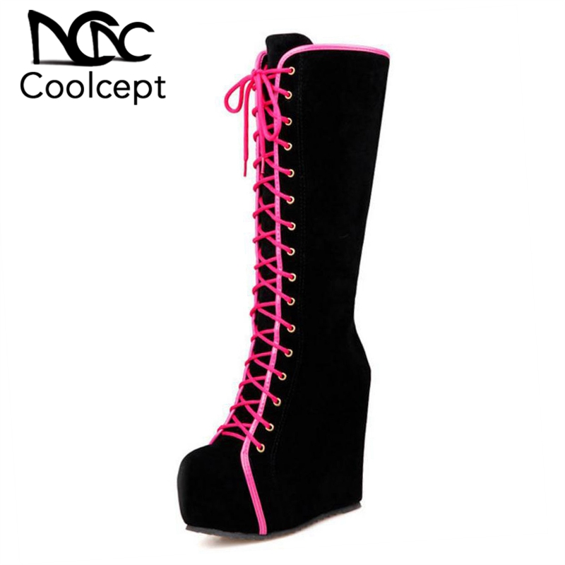 Coolcept Women Half Short Boots Platform High Wedges Boots Thick Fur Botas In Cold Winter Shoes