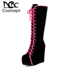 Coolcept Women Half Short Boots Platform High Wedges Thick Fur Botas In Cold Winter Shoes For Footwear Size 34-40