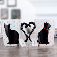 2 Pieces Cute cat coffee mugs Japanese ceramic tea cup couple drinkware 19