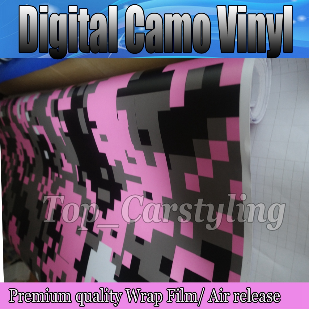 1.52x5m/roll Pink Black White Digital Camo Vinyl Sticker For Car Body Decoration Digital Camouflage Vinyl With Bubble Free