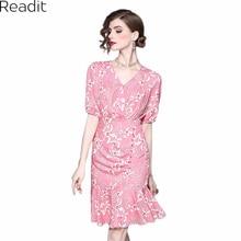 Readit Women Dress 2017 Summer Pink Trumpet Mermaid Dress White Floral Printed Vneck Knee Length Vestidos Mujer D2313