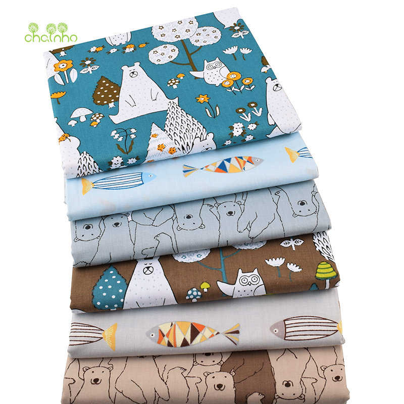 Chainho new bears fishes twill cotton fabric for diy for Children s material sewing