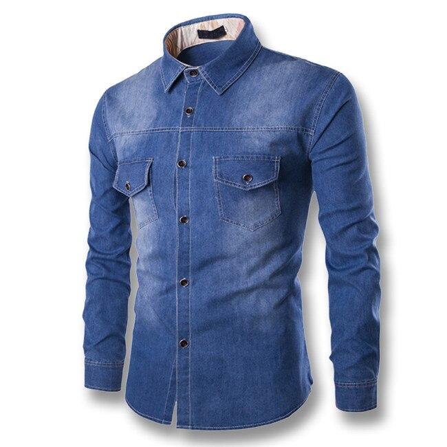 2017 Dżinsy męskie Jeans Koszule męskie Moda Codzienna Slim  PAWzG