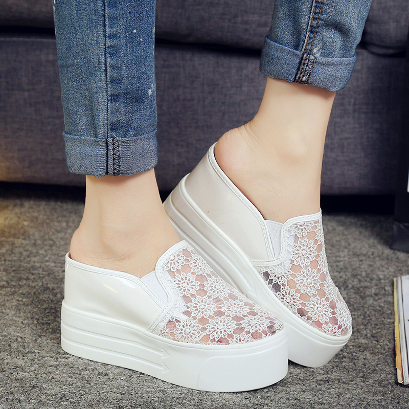 ФОТО Flat Platform Spring Casual Shoes For Women Slip On Lace White Creepers Shoes Woman Round Toe Fashion Women Flats