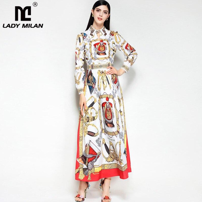 2018 Womens Beaded Turn Down Collar Long Sleeves Printed Elegant Maxi Designer Runway Dresses