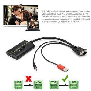 Image 2 - AIXXCO Quality Portable Plug and play VGA To HDMI Output 1080P HD Audio TV AV HDTV PC Video Cable VGA2HDMI Converter Adapter
