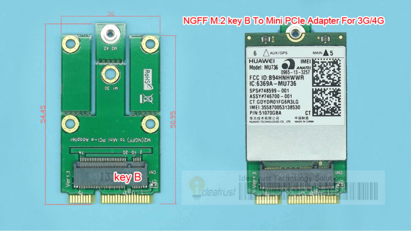 NGFF M.2 Key B To Mini PCIe  Mini PCI-E Adapter For 3G  4G Moudle M2 To Mini Pcie For ME906E MU736 EM7345 ME936 EM7455