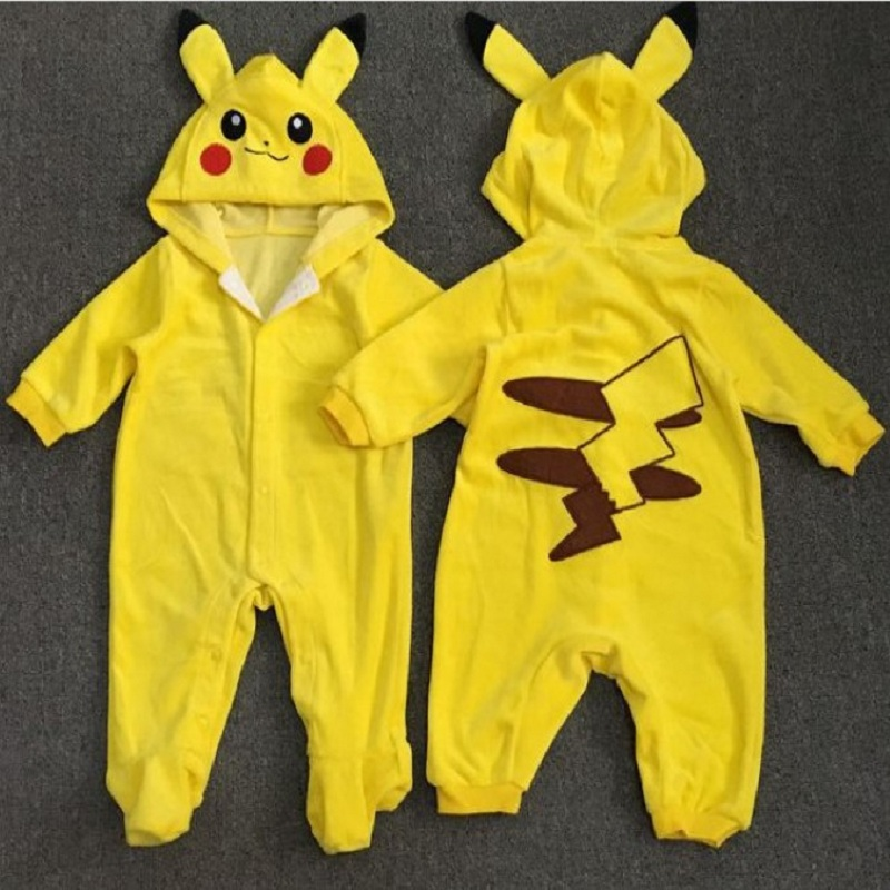 Baby Rompers Hooded Long Sleeve Cotton blended Pokemon Rompers For Baby Boy And Girl Embroidery Pokemon Jumpsuit Clothing warm thicken baby rompers long sleeve organic cotton autumn