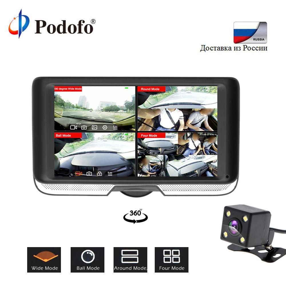 Podofo 4 pouces FHD 360 degrés IPS écran tactile voiture DVR caméra double lentille Dash Cam vue arrière registraire Fisheye lentille Vision nocturne