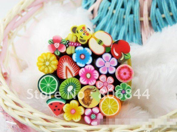 50pcs Nail Stickers Polymer Clay Stickers 3D Fruit And Flower Rolls Stamp Decal Tip Cute Printer DIY Nail Decoration   #WJ098
