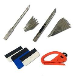 Metalowy uchwyt skalpel gumowe wycieraczki do szyb winylu frez sztuki Cutter przydatne Car Styling Wrap narzędzia zestaw karoserii narzędzia do owijania