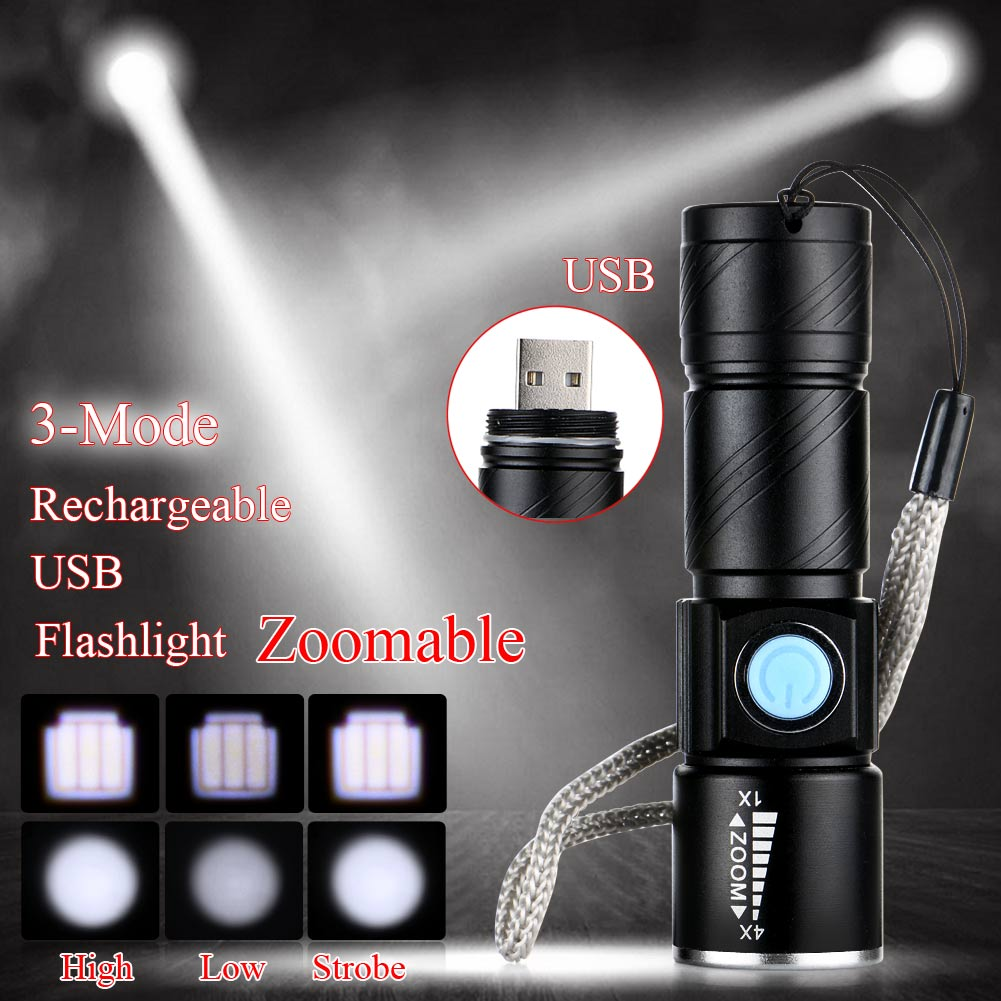 2017 USB Powerful CREE Q5 LED Flashlight Rechargeable Torch usb Flash Light Bike Pocket LED Zoomable Lamp For Hunting Black 2000lumens q5 led flashlight torch zoomable rechargeable led flash light with usb input output for fishing charger holder