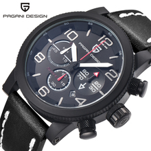 PAGANI DESIGN Business Casual Leather Men's Watches Fashion Sport Utility Chronograph Military Watches relogio masculino