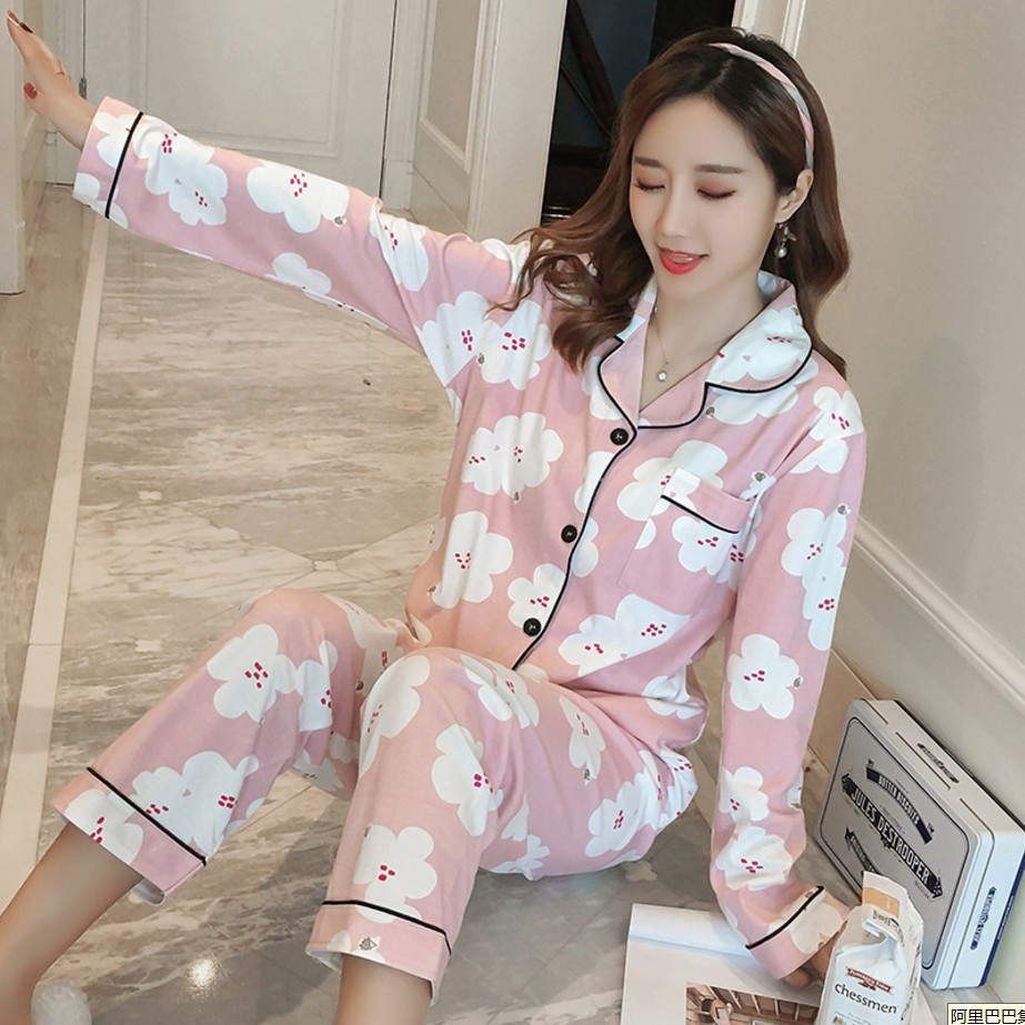 Women   Pajama     Sets   2018 Autumn winter Cotton Cartoon Warm Pyjamas Women Homewear Animal Sleepwear Cat female   pajama