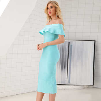 2019 new women\'s summer strapless bandage dress ladies ruffled elegant luxury bodycon sexy celebrity party dress Vestidos