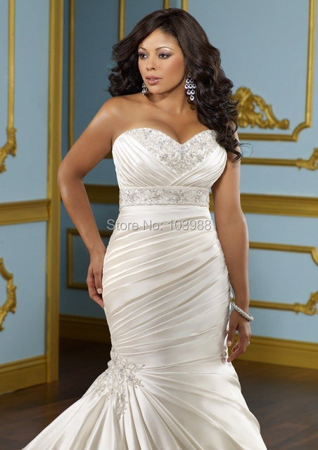 French Style Sweetheart Embroidery Lace Up Satin Plus Size Mermaid