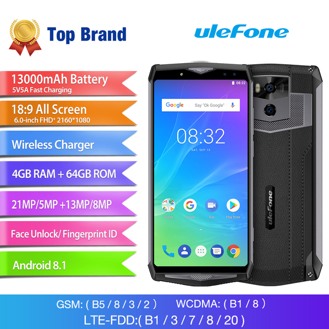Ulefone Power 5S 4G Mobile Phone Android 8.1 4GB+64GB Octa Core Smartphone 13000mAh Face ID Wireless Charger 6.0″ FHD Cell Phone