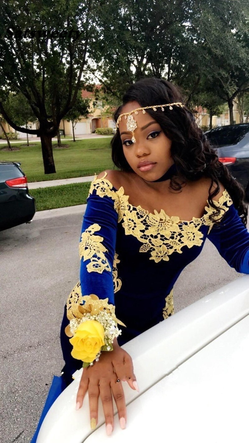 Sexy-Mermaid-Navy-Blue-Velvet-Prom-Dresses-with-Gold-Lace-Flower-Applique-Organza-Designer-Train-Long (2)