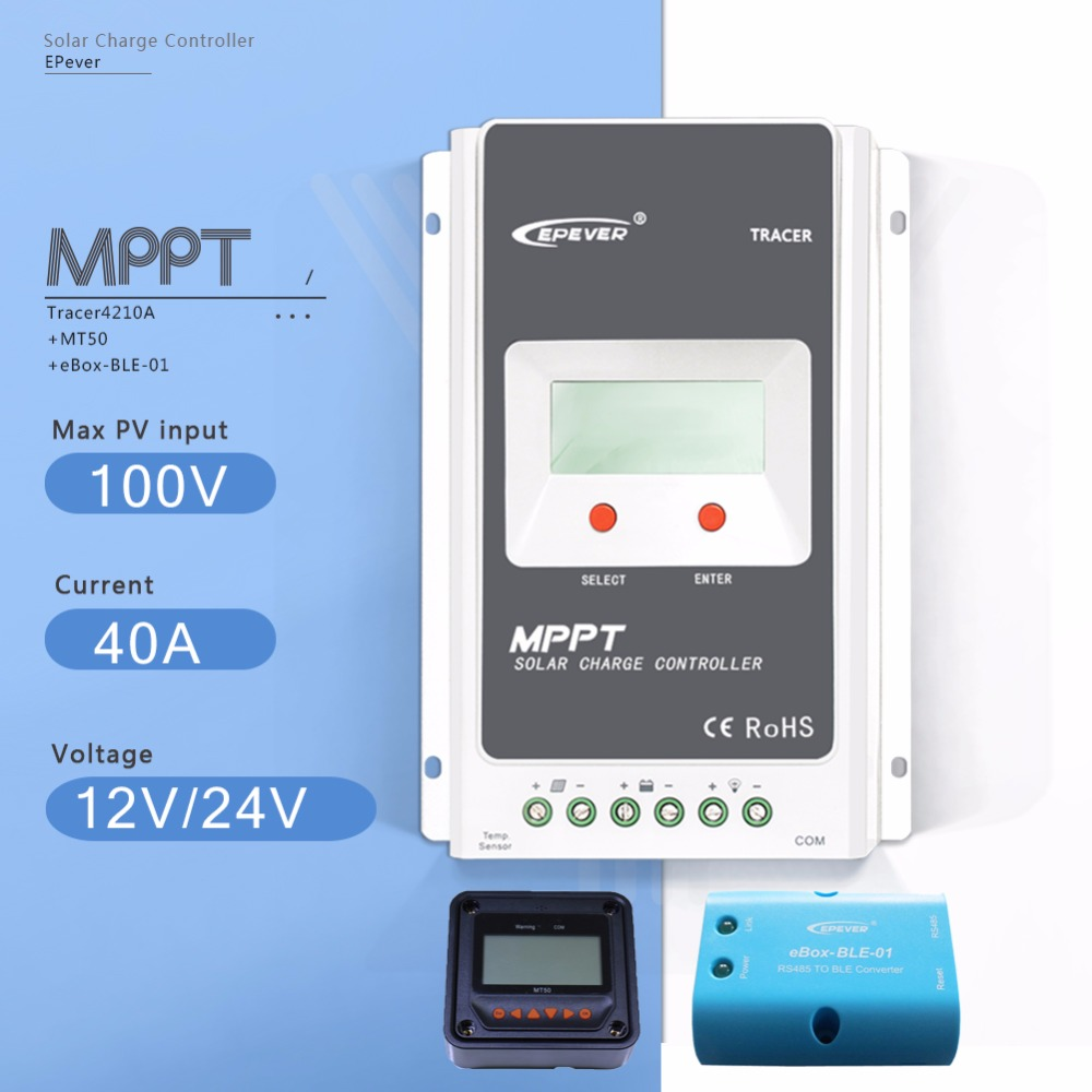MPPT 40A Tracer 4210A LCD Solar Charge Controller 12V/24V Auto Solar Battery Charge Regulator with EBOX-BLE and  MT50 Meter 10a mppt solar charge controller remote meter mt50 epever battery regulator 100v pv input 12v 24vdc auto with lcd display
