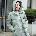 Para baixo Mulheres Jaqueta 2016 Snowka Feminino Mulheres Jaqueta de Inverno Quente Casaco marca de 90% de Pato Branco Para Baixo Mulheres Parka Longo Para Baixo Jaqueta FB6027