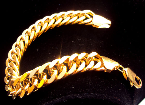 Heavy 44G MENS 24K SOLID GOLD GF FINISH THICK MIAMI CUBAN HAND CHAIN BRACELET Unconditional Lifetime Replacement Guarantee stylish solid heart thick bracelet
