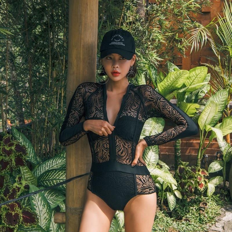Womens Bathing Suits Long Sleeve Swimsuit Lacce Black Female Closed Swimwear Traje Korea Beach Swimming Suit One Piece Badpak