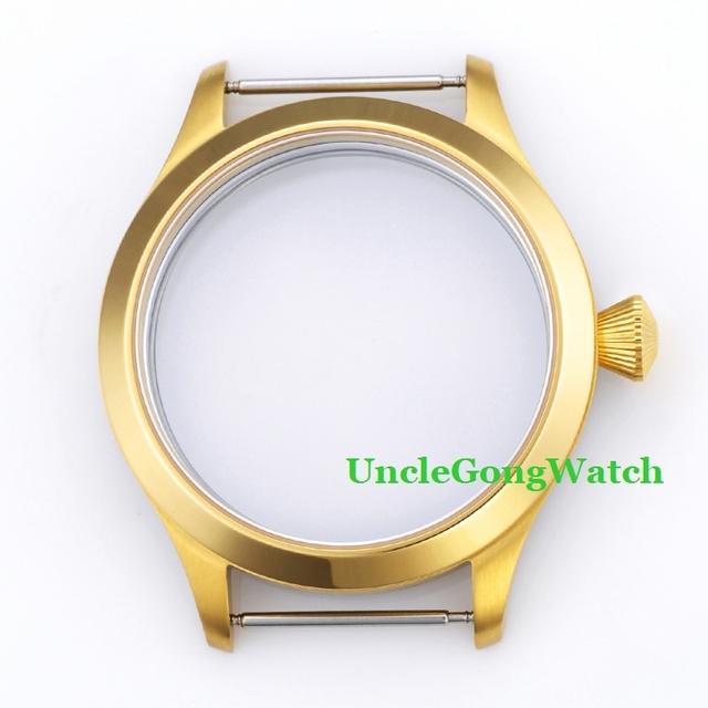 As peças do relógio, corgeut 45mm aço inoxidável 316l pvd ouro assista case fit para 6497 6498 movimento, Casos de pulso para DIY GC4506