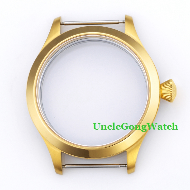 US $44 4 26% OFF|Watch Parts,45mm 316L Stainless Steel Gold PVD Watch Case  Fit for 6497 6498 Movement, Wristwatch Cases for DIY GC4506-in Watch Faces