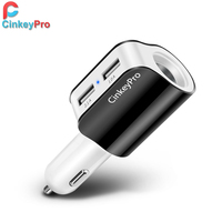 Car Charger Cigarette Lighter Adapter 2.1A 2 Port USB Car-Charger Mobile Phone Adapter Charging Type C for iPhone iPad CinkeyPro